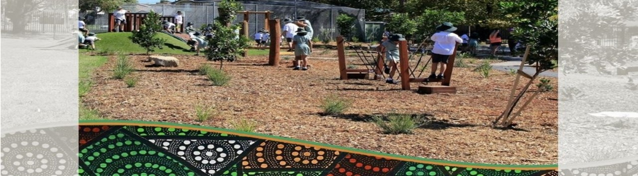 Sylvania Heights Public School playground with Children on equipment and Aboriginal Mural